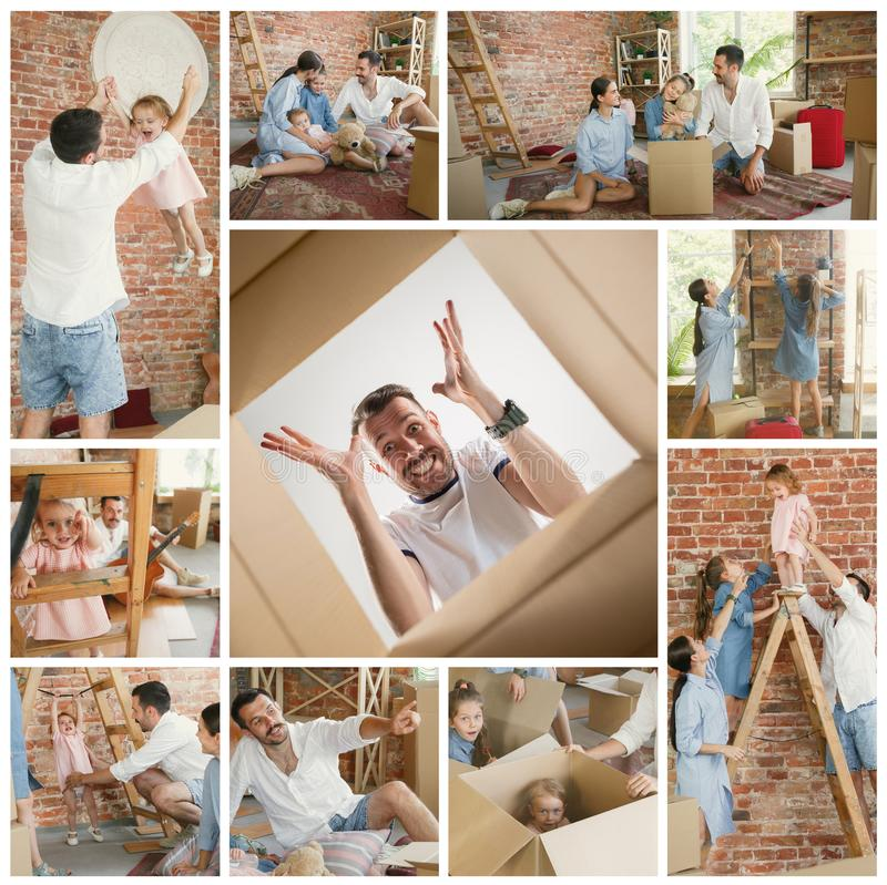 Adult family moved to a new house or apartment stock photo