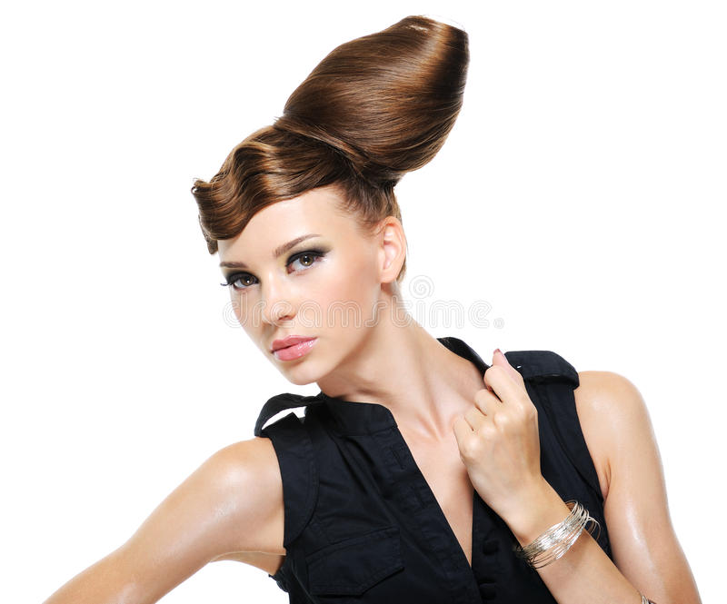 Adult girl with creative fashion stylish hairstyle. Pretty adult girl with creative fashion stylish female hairstyle - isolated with copy space stock photos