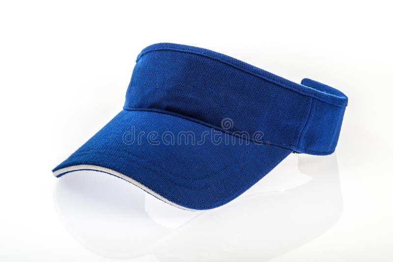 Adult golf blue visor. On white background royalty free stock photos