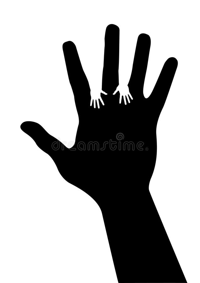 Download Adult Hand Silhouette With Baby Hand Silhouette Royalty Free Stock Photos - Image: 20506238