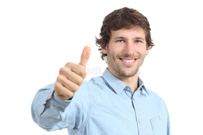 Adult happy man agreement gesturing thumbs up stock images