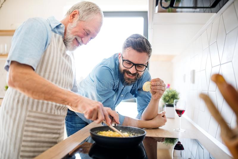 An adult hipster son and senior father indoors at home, cooking. stock image