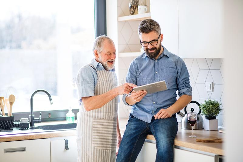 Adult hipster son and senior father indoors in kitchen at home, using tablet. A portrait of adult hipster son and senior father indoors in kitchen at home royalty free stock images