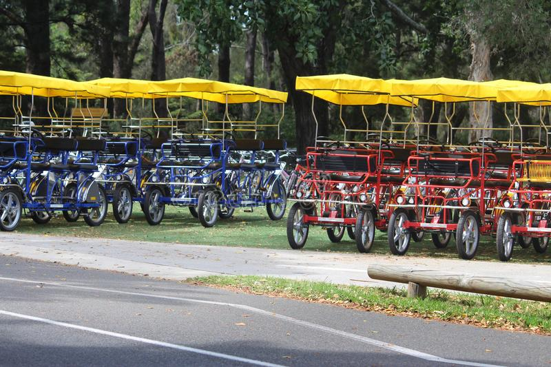 Adult hire pedal cars. Adult pedal cars on display and for hire in a park beside the road stock photo