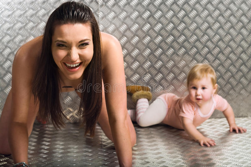 Download Adult And Little Caucasian Female Models Stock Image - Image: 12307773