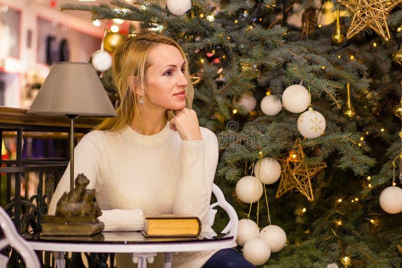 Adult long hair woman celebration Christmas. Adult blonde long hair woman celebration Christmas stock photography