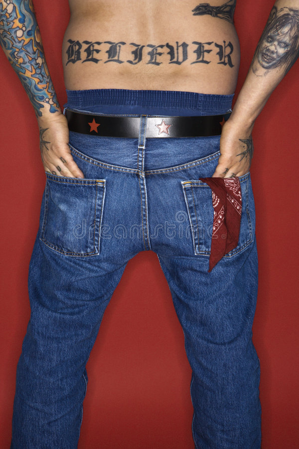 Download Adult Male With Back Tattoo Reading Believer. Stock Image - Image: 2037995