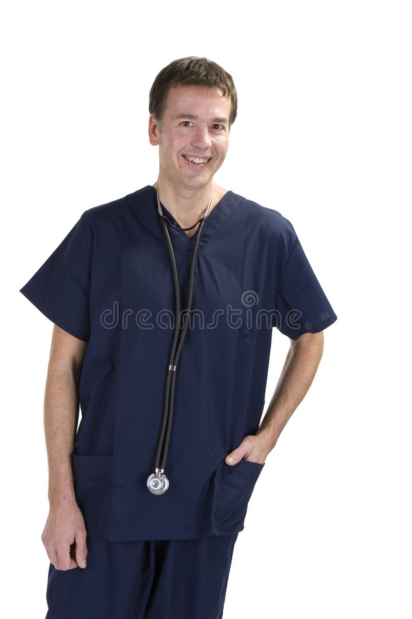Adult male in scrubs over white background stock photography