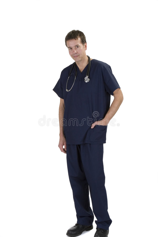 Adult male in scrubs over white background stock photo