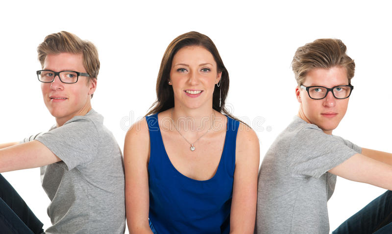 Adult Male Twins And Young Girl Stock Photo