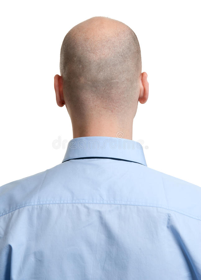 Adult man bald head rear view stock image