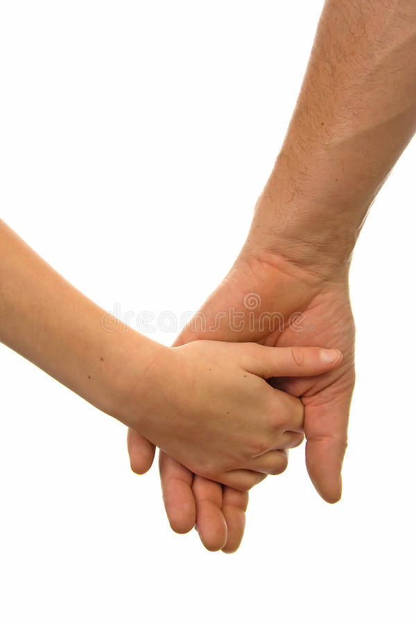 Adult man and child holding hands. Over white background royalty free stock images