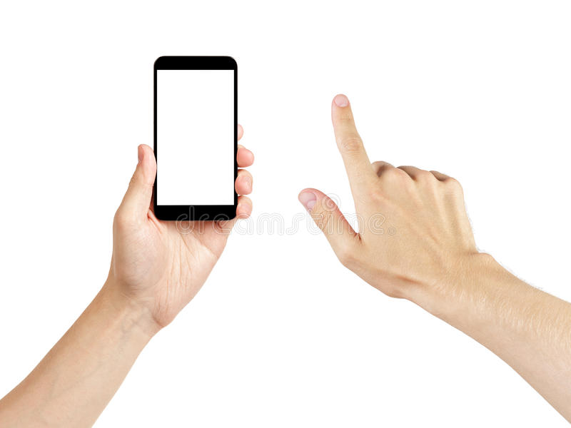 Adult man hands using generic mobile phone with white screen stock photography