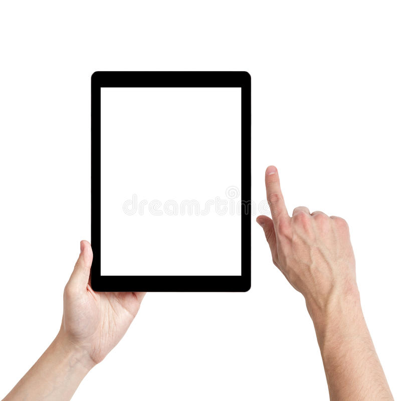 Adult man hands using tablet pc with white screen royalty free stock photography