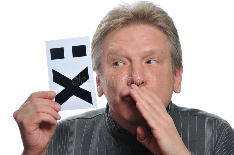 Adult man hold card with image