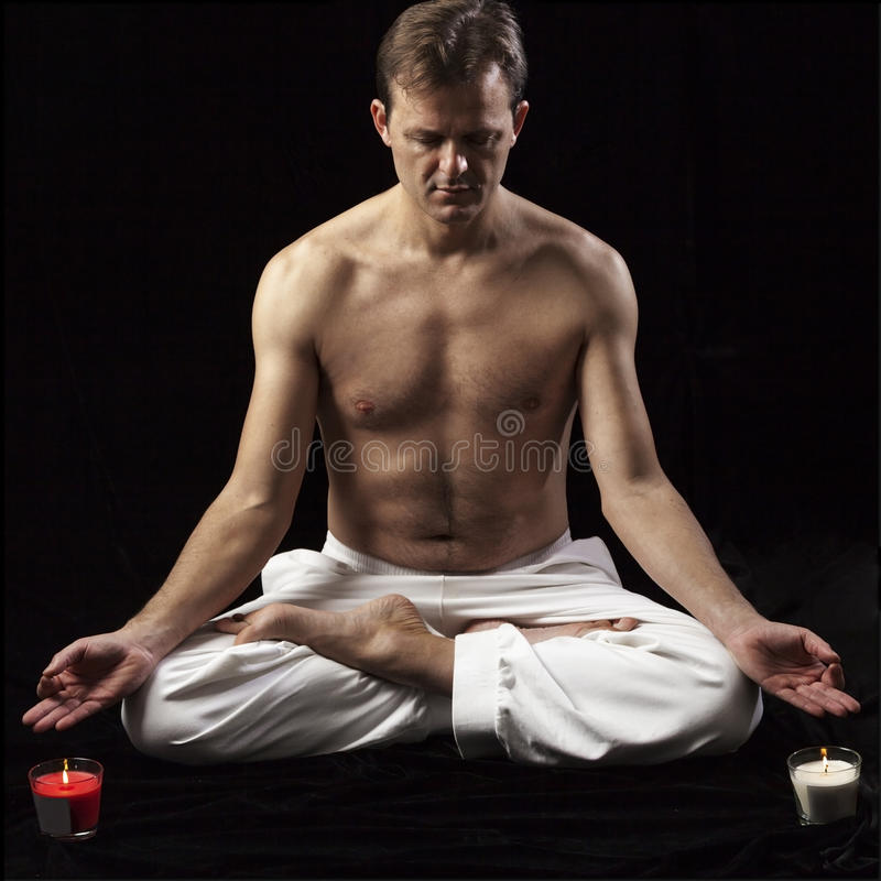 Download Adult Man In Lotus Position Stock Photo - Image: 26077844