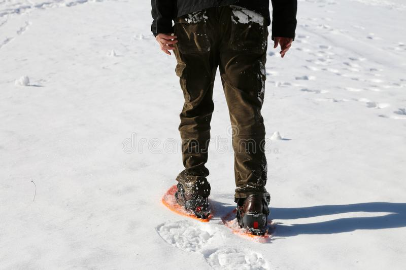 Adult man with snowshoes in winter royalty free stock photo