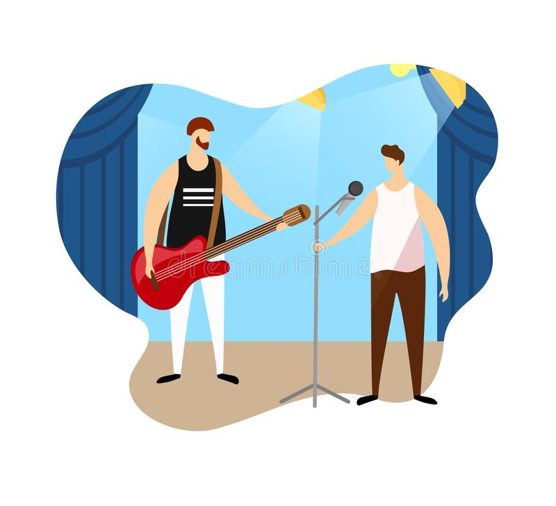 Couple of Male Artists Giving Rock Music Concert. royalty free illustration
