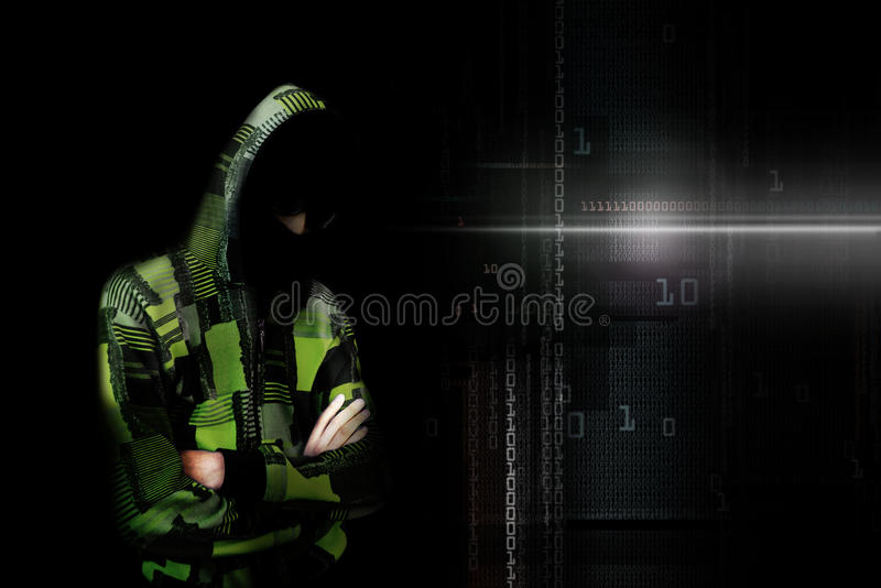 An adult online anonymous internet hacker with invisible face in. Urban environment and number codes illustration concept. Mixed media stock illustration