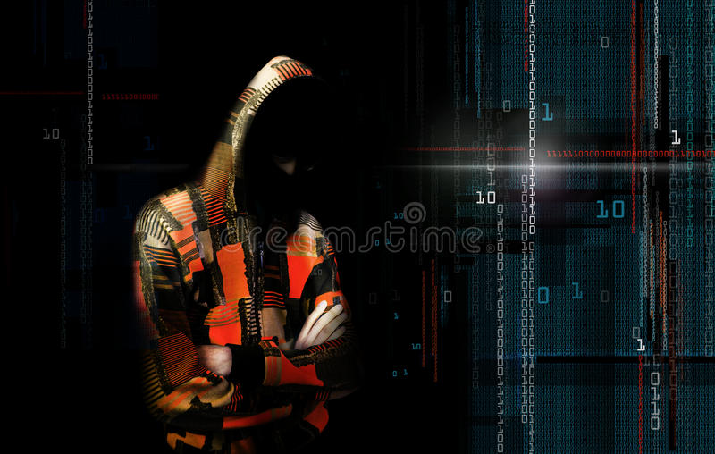 An adult online anonymous internet hacker with invisible face in. Urban environment and number codes illustration concept. Mixed media royalty free illustration