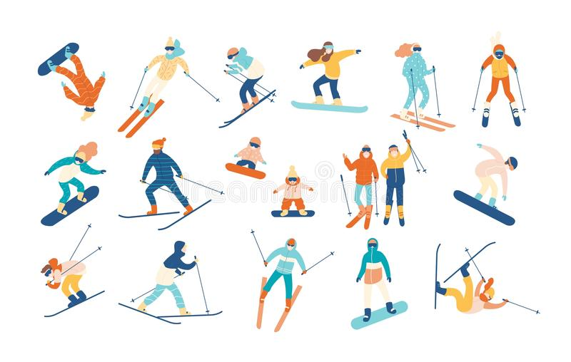 Adult people and children dressed in winter clothing snowboarding and skiing. Male and female cartoon ski and snowboard stock illustration
