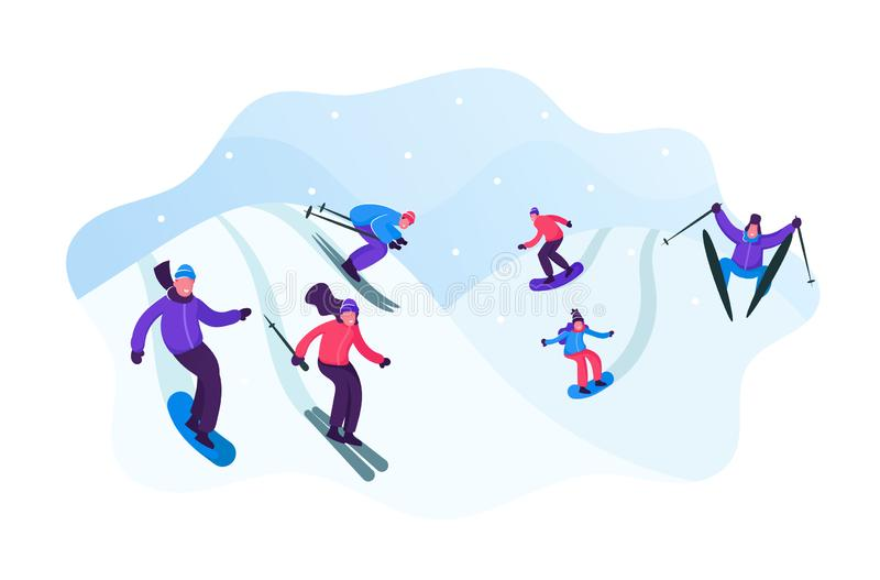 Adult People Dressed in Winter Clothing Skiing and Snowboarding. Male Female Riders Characters Having Fun and Winter royalty free illustration