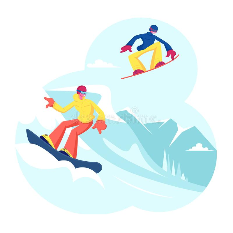 Adult People Dressed in Winter Clothing Snowboarding. Male Female Snowboard Riders Characters Having Fun royalty free illustration