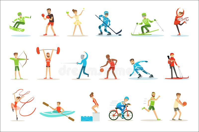 Adult People Practicing Different Olympic Sports Set Of Cartoon Characters In Sportive Uniform Participating In vector illustration