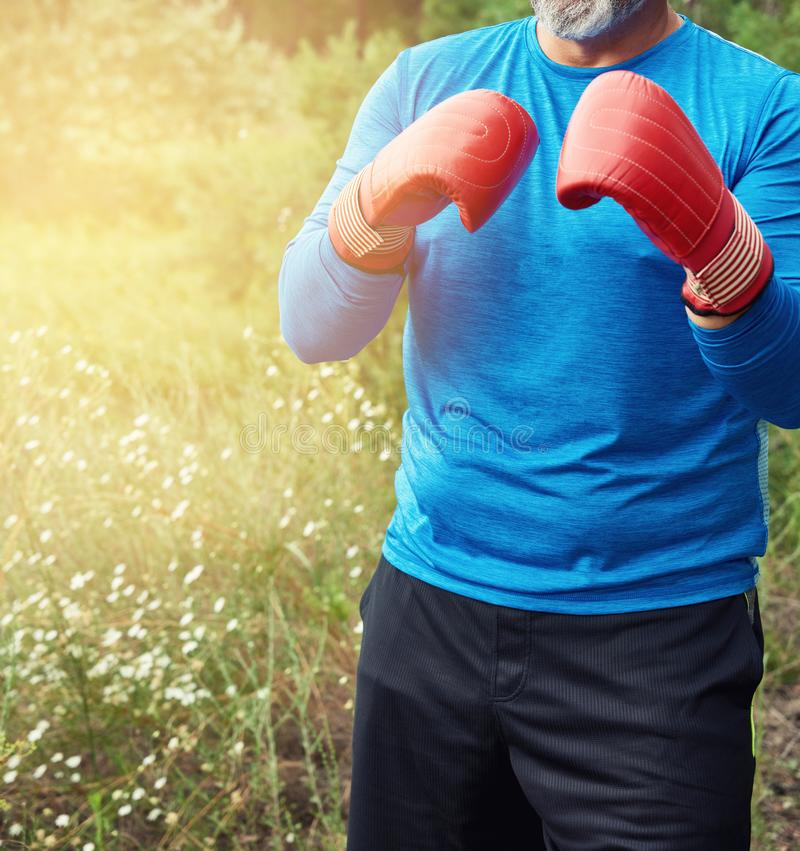 Adult plump athlete in blue uniform and red leather boxing gloves. Stand in the middle of a green meadow, concept of doing sports in nature stock photography
