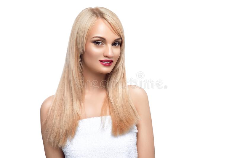 Adult portrait of a woman, concept of skin care, beautiful skin. Photo portrait of a girl on a white background. Beauty royalty free stock photography