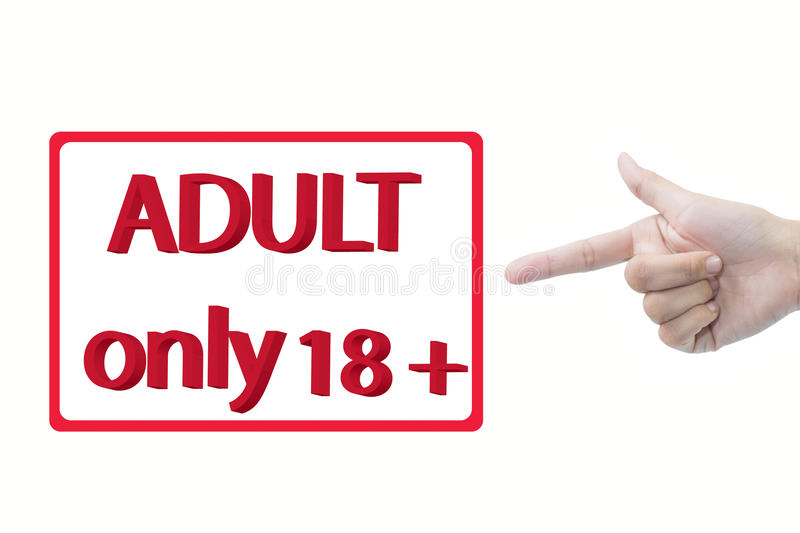 Adult only 18+. Red text adult only 18 + in box graphic with hand pointing on white background royalty free stock photos