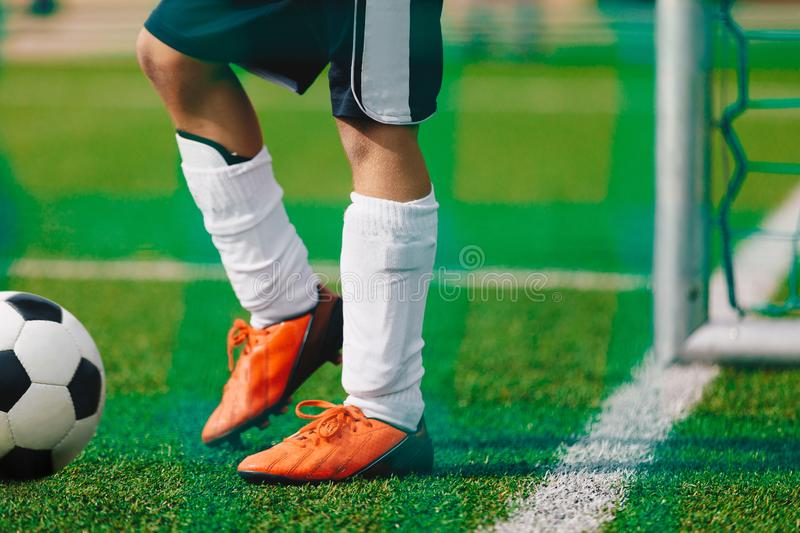 Adult Soccer Football Training Session. Football Player Practice with Ball on the Field stock photos