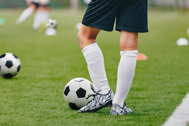 Adult Soccer Training Session. Football Player with Ball on the Field. Soccer School Class stock photo