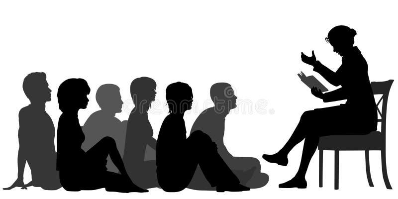 Adult storytime vector illustration