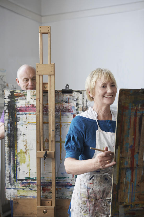 Adult Students In Art Class royalty free stock images