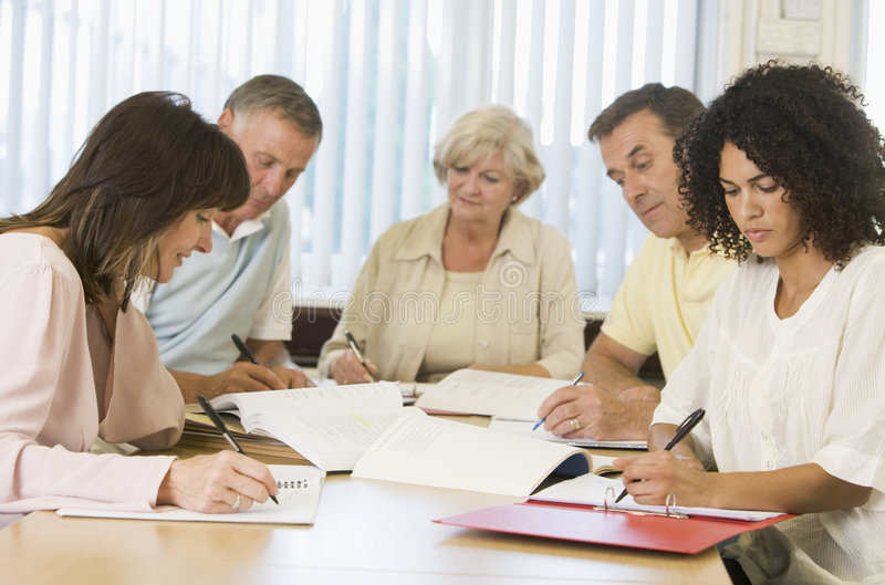 Adult Students Studying Together Stock Photos