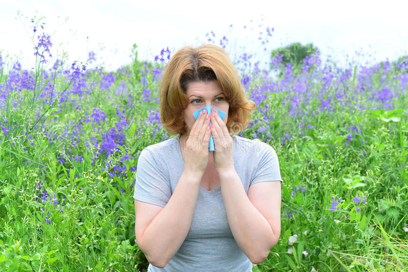 Adult woman with allergies on the Meadow. An adult woman with allergies on the Meadow royalty free stock image
