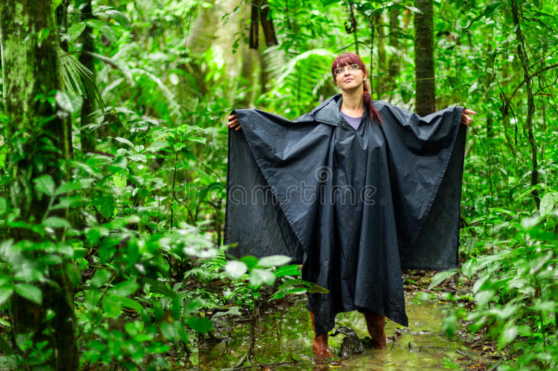 Adult Woman In Amazon Jungle royalty free stock photos