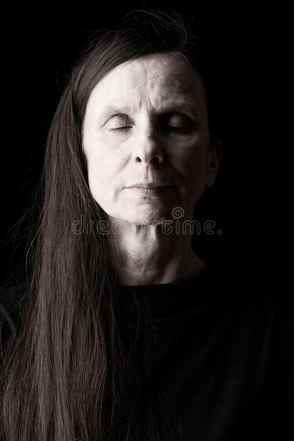 Adult Woman With Closed Eyes stock images