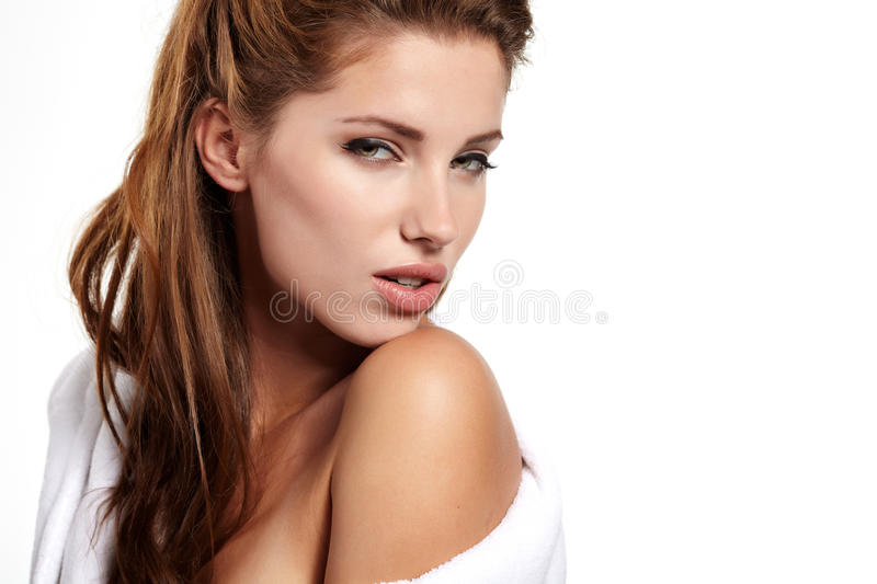 Adult woman with health skin of face stock images