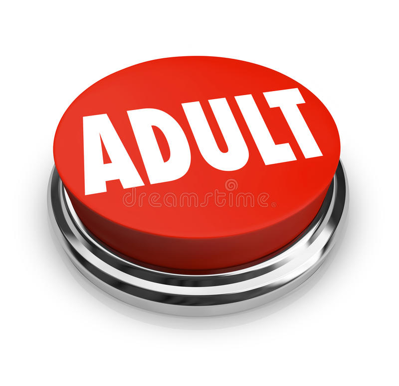 Adult Word Red Button Mature Restricted Content. A round red button with the word Adult to symbolize mature restricted content such as or other material meant vector illustration
