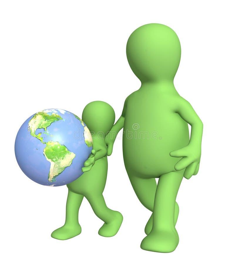Adulte et enfant avec la terre illustration stock