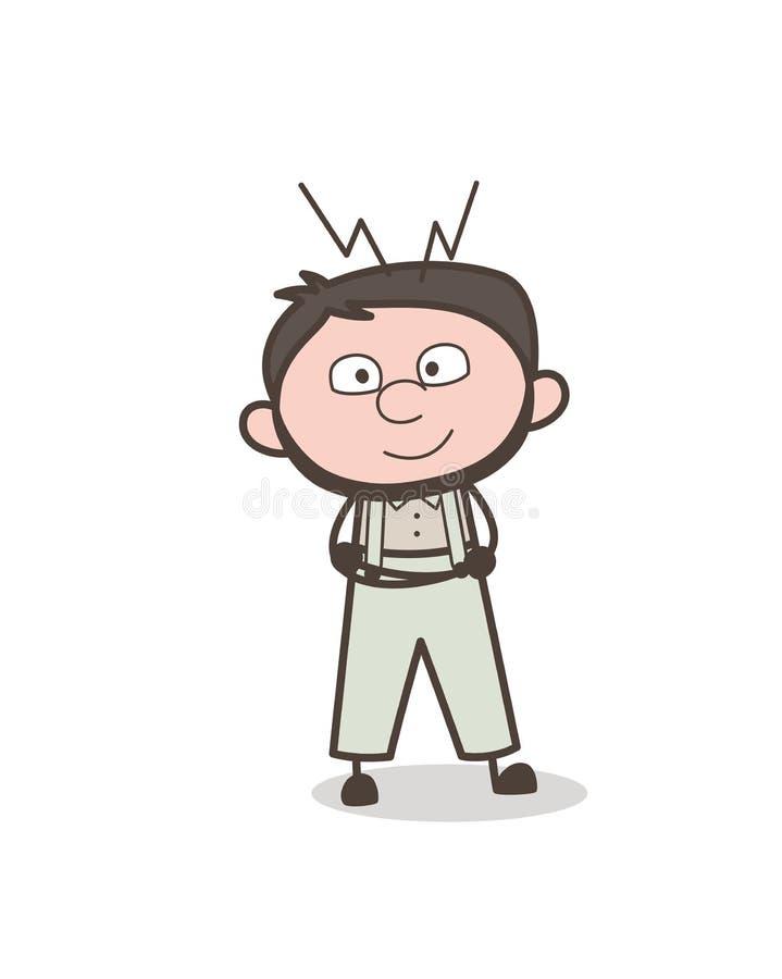 Adulte Guy Smiling Face Vector Illustration de bande dessinée illustration libre de droits