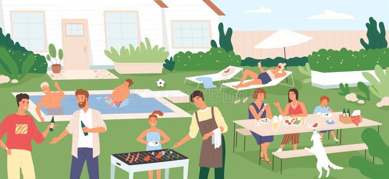 Adultes et enfants passant le temps dans l'arrière-cour à la partie ou au pique-nique de barbecue Les gens exerçant des activités illustration libre de droits