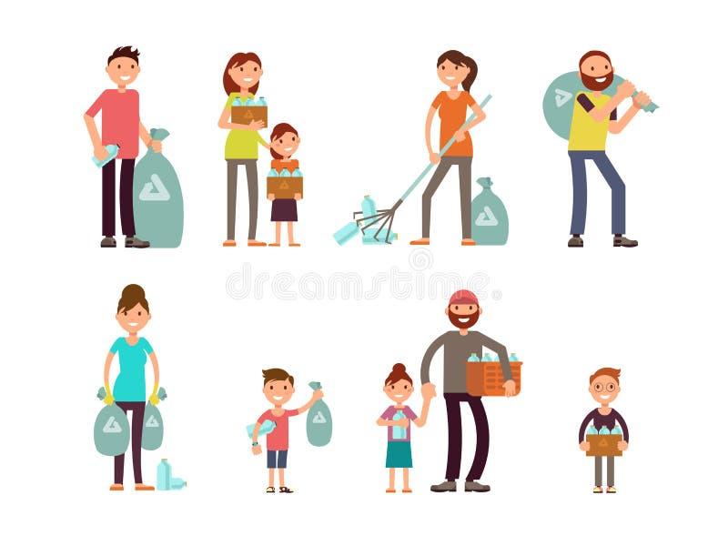Adulto do grupo de pessoas e caráteres das crianças que recolhem o desperdício do lixo e do plástico da cidade para reciclar o gr ilustração royalty free