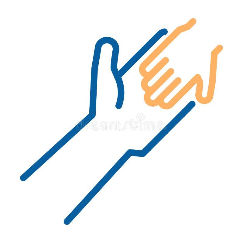 Adulto e criança que guardam o ícone das mãos Linha fina ilustração do vetor Ajuda humanitária, adotando uma criança, laços de fa ilustração stock