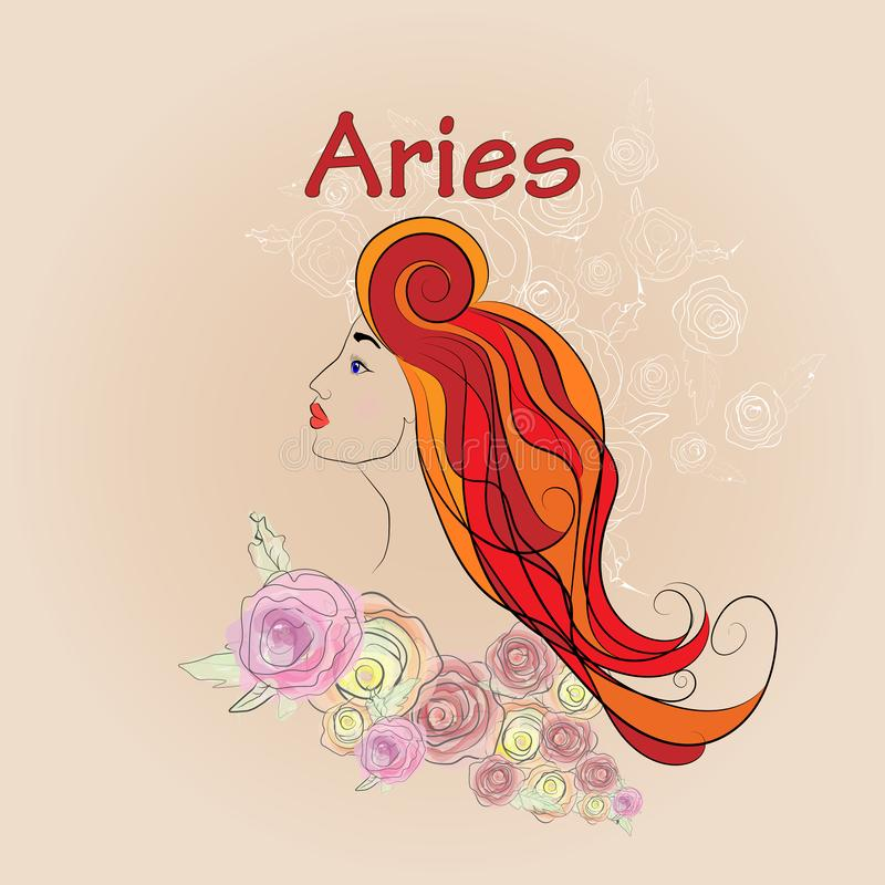 Adulto, ilustração do aries, arte, astrologia, fundo, ilustração stock