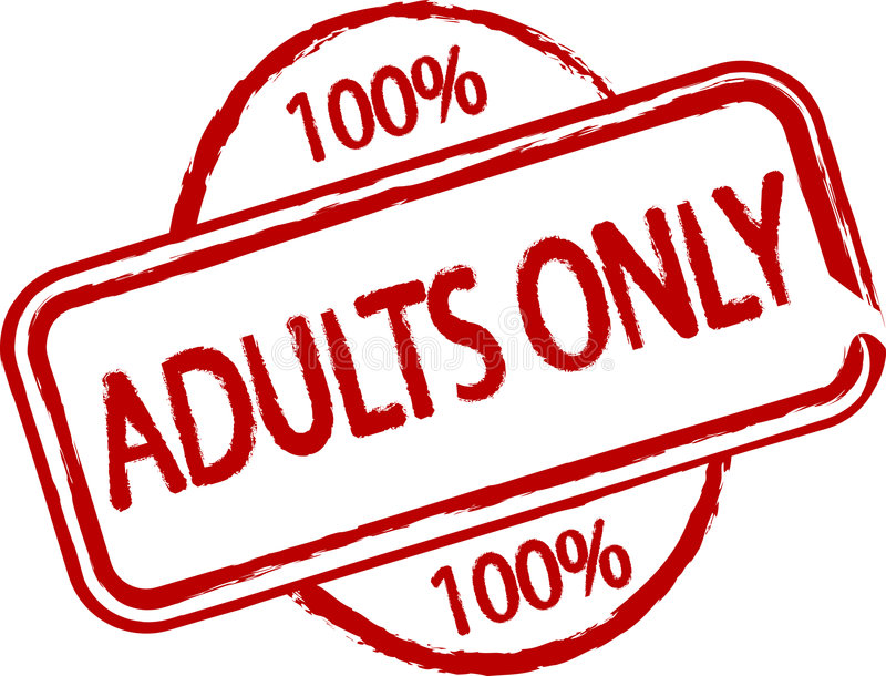 Adults only. An illustrated stamp that says Adults only. All on white background stock illustration