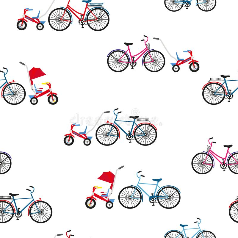 Adults and children`s bicycles. Seamless vector. Adults and children bicycles on an active city walk. Seamless color vector flat style vector illustration