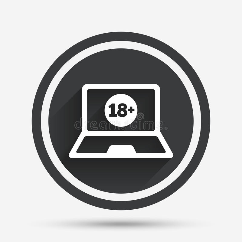 Adults content laptop icon. Website for adults. Adults content laptop sign icon. Website for adults only symbol. Warning. Circle flat button with shadow and stock illustration
